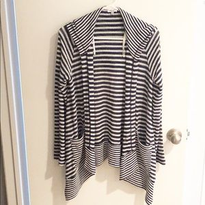 SPLENDID Blue Striped Sweater Hoodie (Size M)